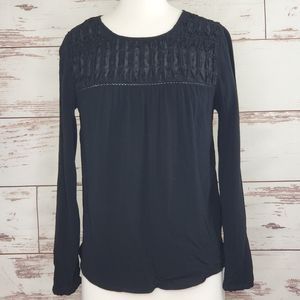 Anthro Black blouse Meadow Rue Vivie Swiss Dot XS
